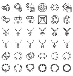 accessories and jewelry icon set line style vector image