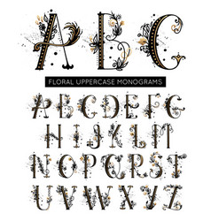 Alphabet hand drawn floral uppercase letters vector
