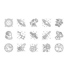 Astronomy linear icons set space exploration vector