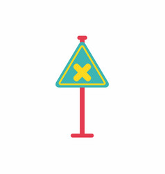 Awareness sign with an x sign road symbol vector