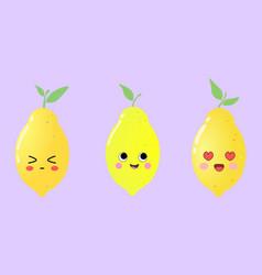 beautiful cartoon set with lemons vector image