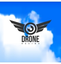 Beautiful drone racing logo on a sky background vector