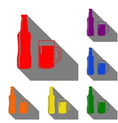 beer bottle sign set of red orange yellow vector image vector image