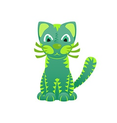 Bright ornamental green cat vector image