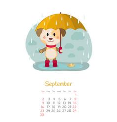 Calendar 2018 months september with dog vector