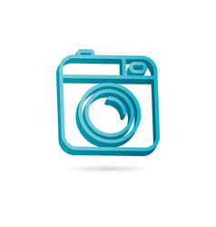 camera 3d icon photo line minimalistic vector image