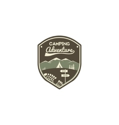 Camping adventure label Mountain winter camp vector