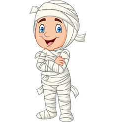 cartoon kid wearing mummy costume isolated vector image