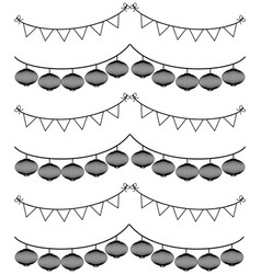 Chinese style bunting with lantern on white vector