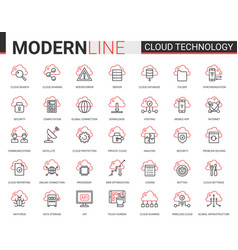 cloud data technology red black outline line icons vector image