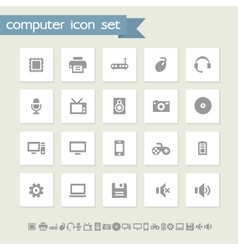 Computer icon set Simple flat buttons vector image