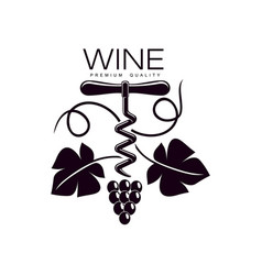 corkscrew decorated with grapevine icon vector image