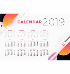 Creative abstract 2019 calendar design vector