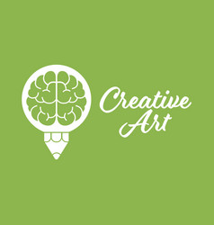 creative art brain pencil design logo template vector image