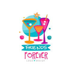 Creative friends forever logo template with three vector