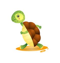 Cute kawai turtle running away hurrying isolated vector