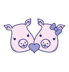 Cute pig couple animal lover vector
