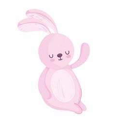 cute rabbit animal cartoon isolated white vector image