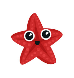 cute red sea star with big shiny eyes adorable vector image