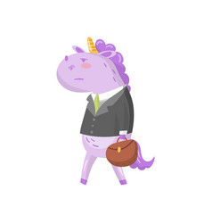 cute unicorn businessman character in a suit with vector image