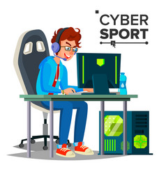 Cyber sport player participant of cyber vector