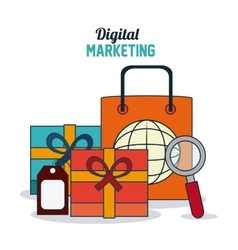 Digital Marketing design shopping and ecommerce vector