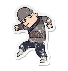 Distressed sticker of a cartoon sneaking thief vector