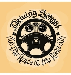 Driving school logo design template car vector