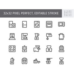 Electronic kitchen devices simple line icons vector