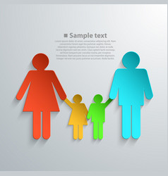 Family silhouettes with shadow vector