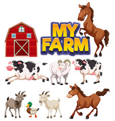 Font design for word my farm with many animals vector