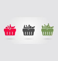 Food basket from super market set three vector