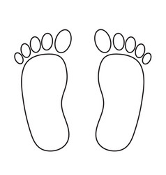 foot prints black on white stock vector image
