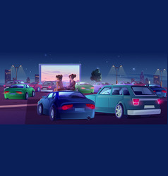 Girls at car cinema friends in drive-in theater vector