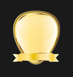 Golden frame emblem ribbon icon vector