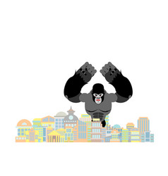 gorilla in city rampage big monkey destroys town vector image