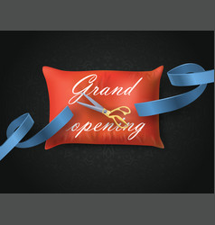 grand opening card with blue ribbon scissors on vector image
