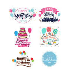 happy birthday vintage isolated label set vector image