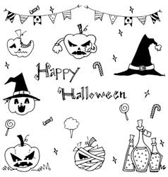 Happy Halloween ornament in doodle vector image