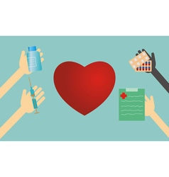 Heart shape and hands with medical things vector