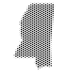Hex tile mississippi state map vector