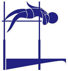 High jump icon in blue color vector