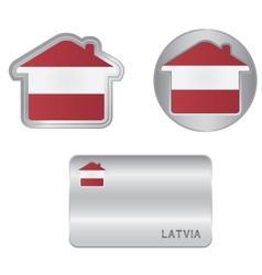 Home icon on the Latvia flag vector image
