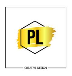 Initial letter pl logo template design vector
