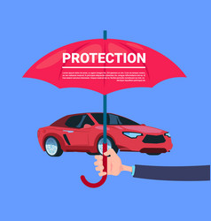 Insurance service hand umbrella protective car on vector