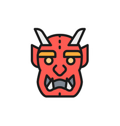 japanese devil mask flat color line icon vector image