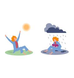Joy and sadness sad woman under raining vector