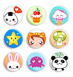 Kawaii badges vector