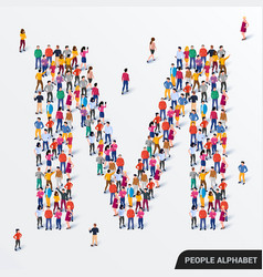 large group people in letter m form human vector image