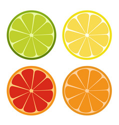 lemone lime orange icon citrus set refreshing vector image